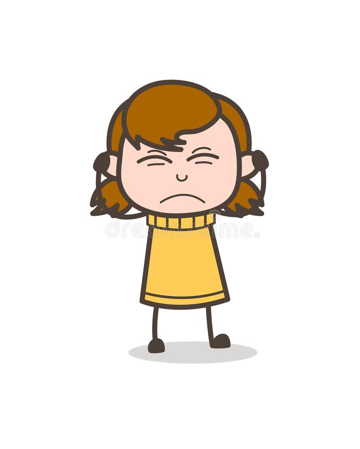 Podrażniony twarzy wyrażenie - Śliczna kreskówki dziewczyny ilustracja ilustracja wektor
