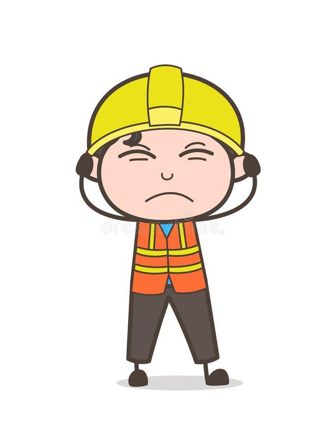 Podrażniony twarzy wyrażenie - Ślicznej kreskówki inżyniera Męska ilustracja ilustracja wektor