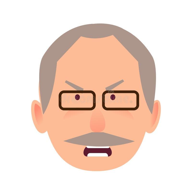 Podrażniony wyraz twarzy starsza osoba mężczyzna wektor ilustracja wektor