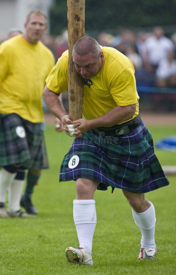 Podrzucający Caber - w Szkocja Górskie Gry zdjęcie royalty free