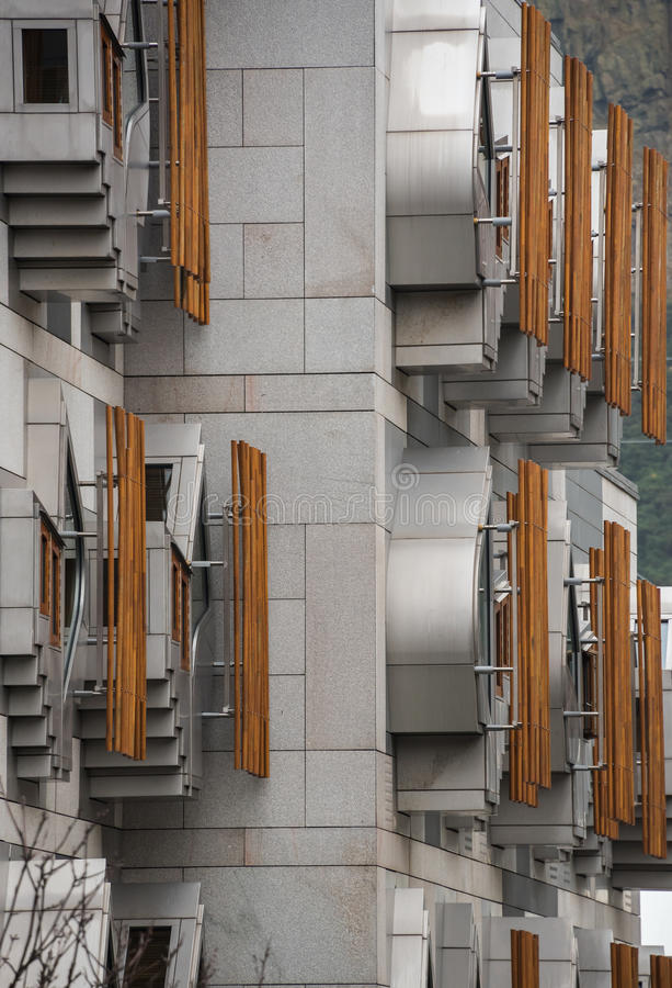 Pods on the MSP Building in Edinburgh. The unique façade of the Members` office accommodation quickly became the first iconic image of Holyrood. The windows royalty free stock photography