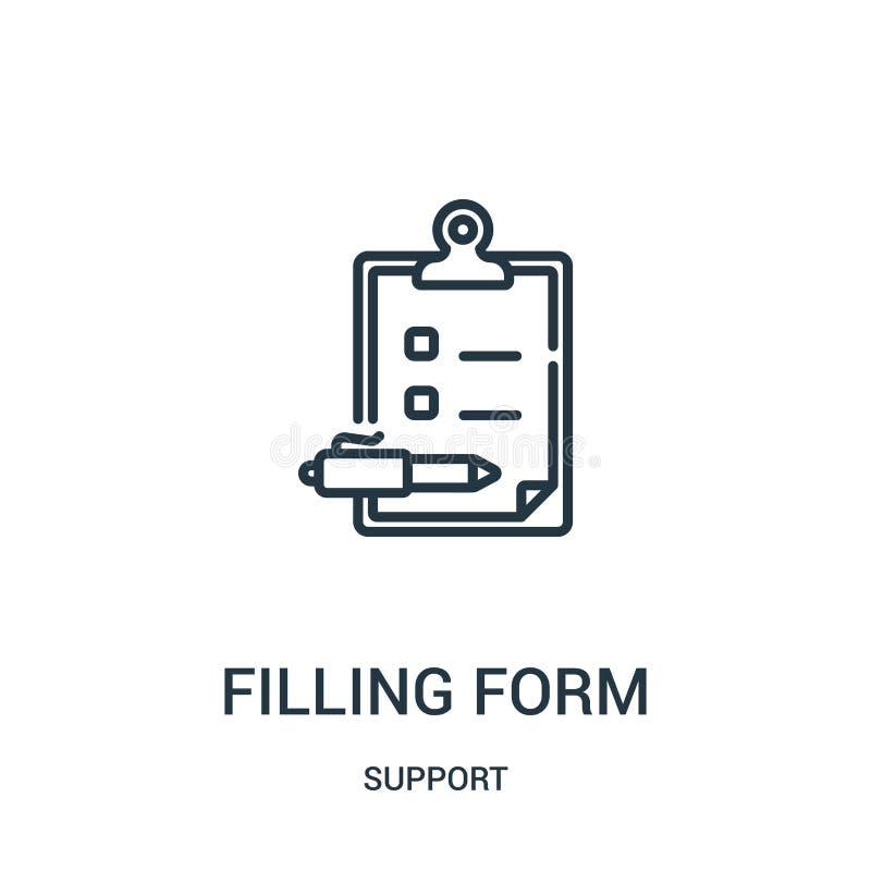 podsadzkowy formularzowy ikona wektor od poparcie kolekcji Cienka kreskowa plombowanie formy konturu ikony wektoru ilustracja Lin royalty ilustracja
