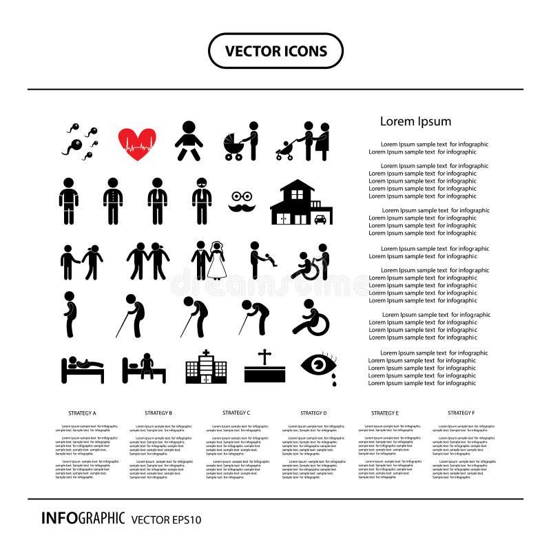 Podstawowa ikona ustawiająca dla życie ludzkie informaci grafiki ilustracja wektor