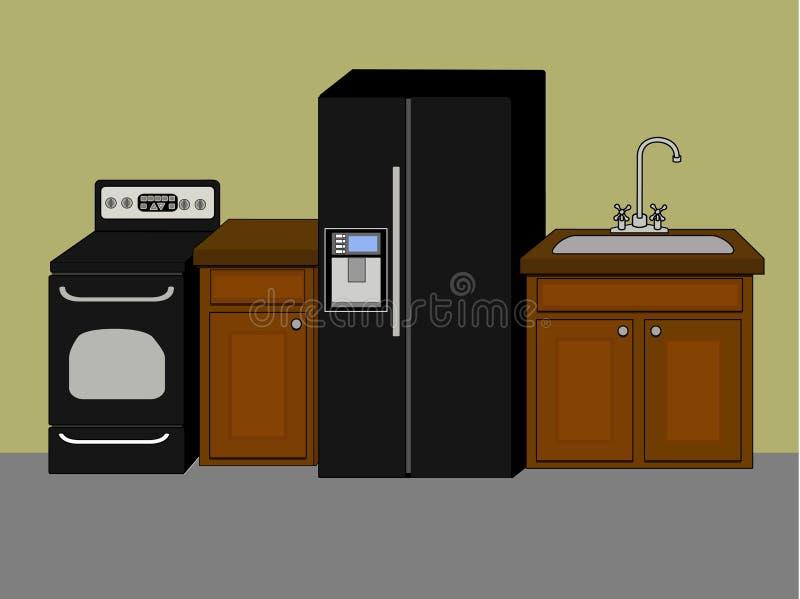 podstawowa wyposażenia kuchni f ilustracji