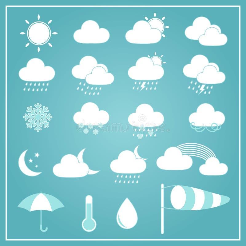 Podstawowe Pogodowe ikony na Błękitnym tle ilustracji