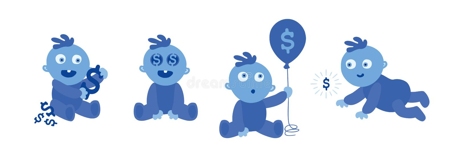 Set of little blue toddlers on white. Baby and Money. Wealthy Child. Dollars on eyes and on the balloon. Vector Illustration stock illustration