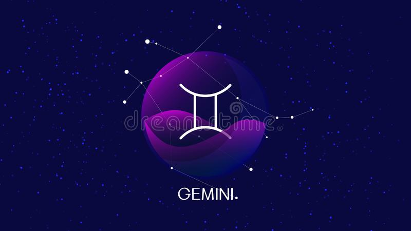 Vector image representing night, starry sky with gemini zodiac constellation behind glass sphere with encapsulated gemini sign and vector illustration