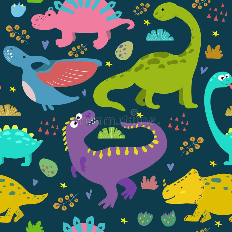 Hand drawn seamless pattern with dinosaurs. vector illustration
