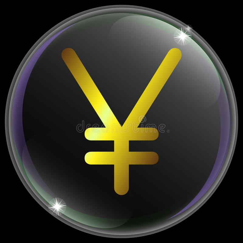 Vector illustration of simple and realistic Japanesse yen currency sign or symbol with gold gradient . royalty free illustration