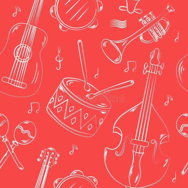 Hand drawn seamless pattern with musical instruments isolated on pink background. vector illustration