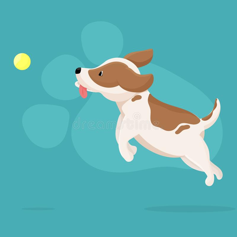 Vector illustration cute dog playing with ball. royalty free illustration