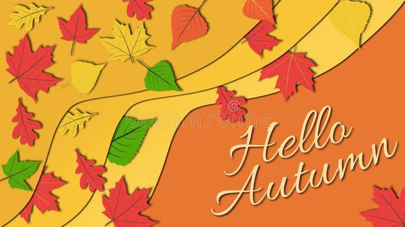 Podstawowe RGBSimple projekta płaska ilustracja w ciepłych kolorów brzmieniach kolorowi jesień liście z jesień podpisem cześć zdjęcia royalty free