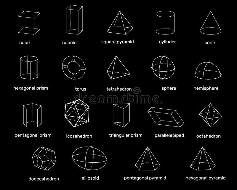 Podstawowi 3d geometryczni kształty Odizolowywający na czarny tle wektor ilustracji