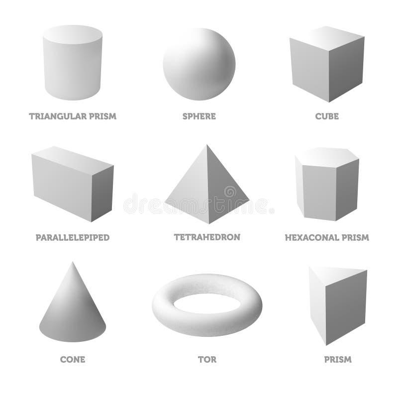 Podstawowi geometryczni bodies i kształty Stali bodies realistyczna ballons ilustracja ilustracji