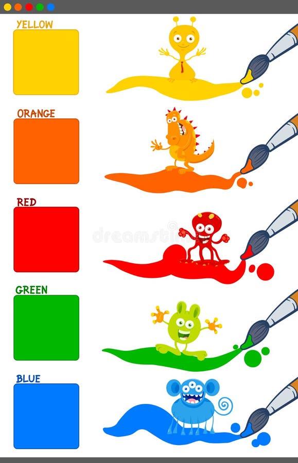 Podstawowi kolory ustawiający z kreskówki fantazji istotami ilustracji