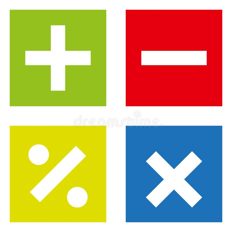 Podstawowi Matematycznie symbole na białym tle royalty ilustracja