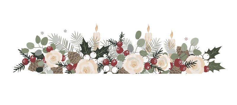 Podstawowi RGBVector boże narodzenia graniczą z jedlinowymi gałąź, beriies, różami, ostrokrzewem i rożkami, Dekoracyjny ramowy pr ilustracji