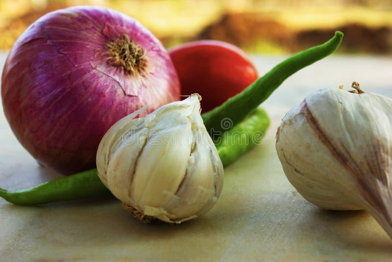 Podstawowi składniki dla Indiańskich currych, cebula, czosnek, pomidorowy i chłodny obraz royalty free