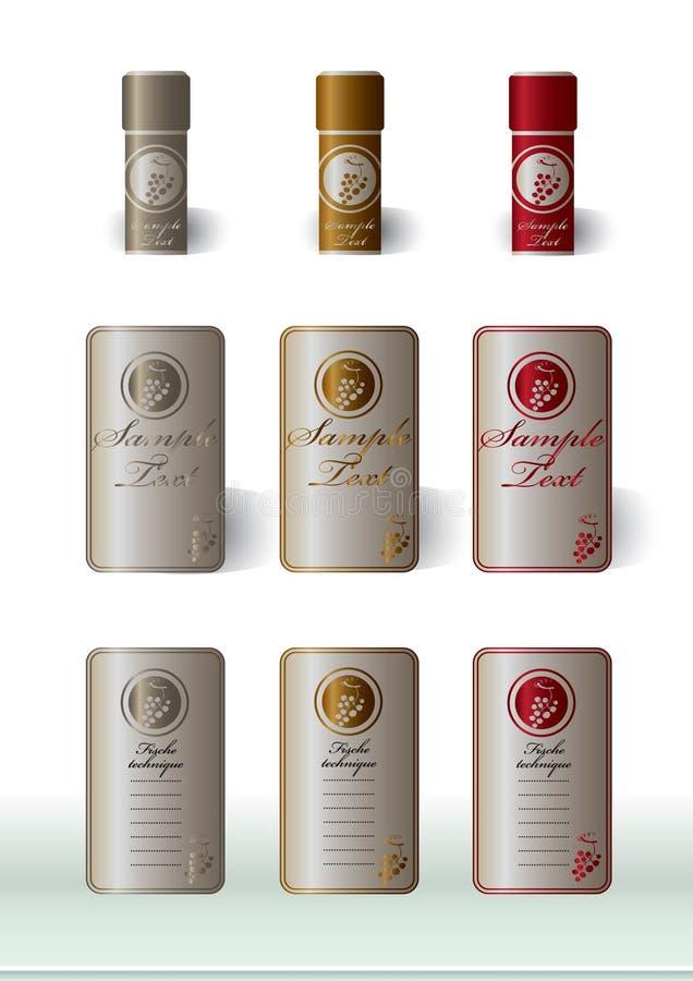 podstawowy etykietek prezentaci wino ilustracji