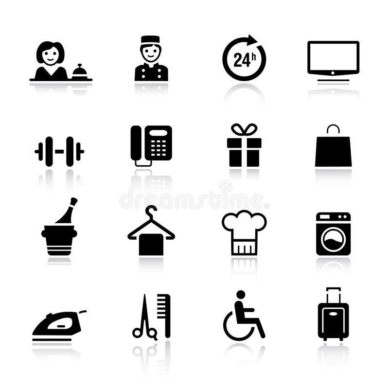 podstawowy hotelowe ikony royalty ilustracja