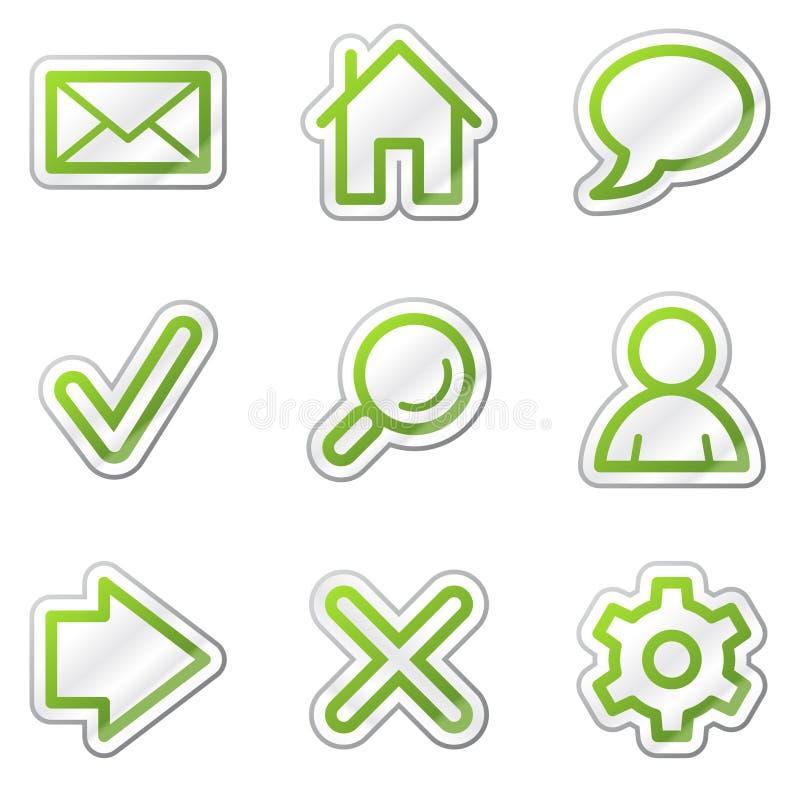 podstawowy konturu zieleni ikon serii majcheru sieć ilustracji