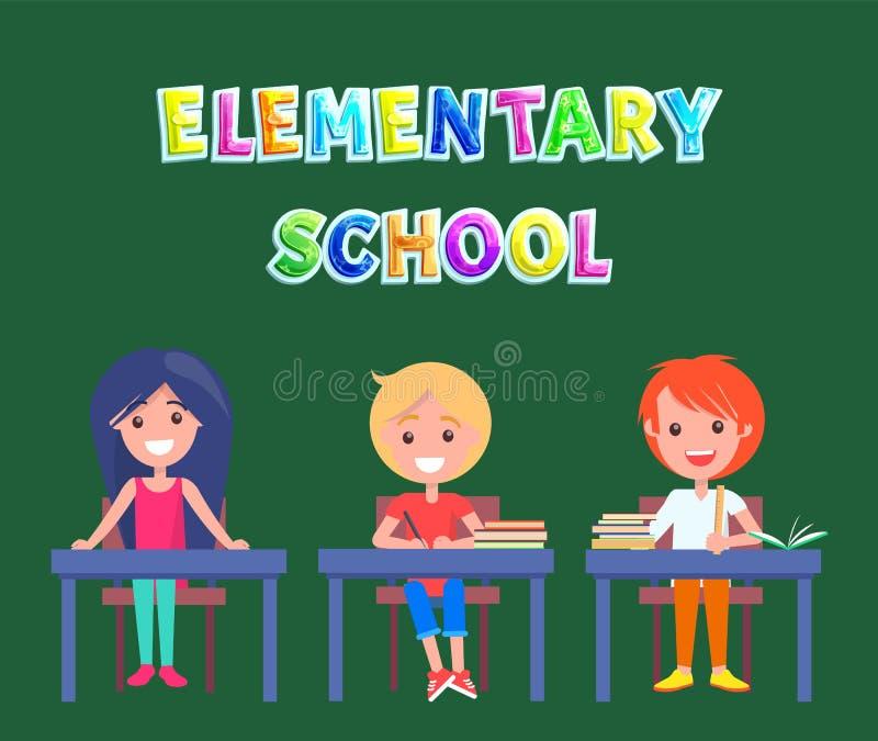 Podstawowy lub szkoła podstawowa plakat z uczniami ilustracji