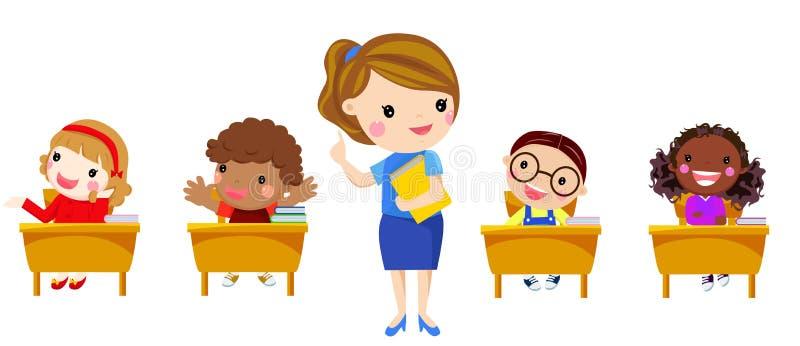 Podstawowy nauczyciel ma klasę z grupą dzieci royalty ilustracja
