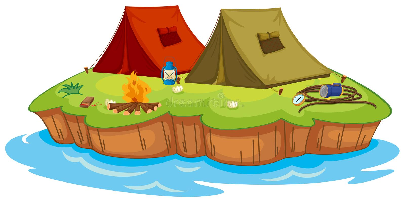 Podstawowy obóz na wyspie ilustracji