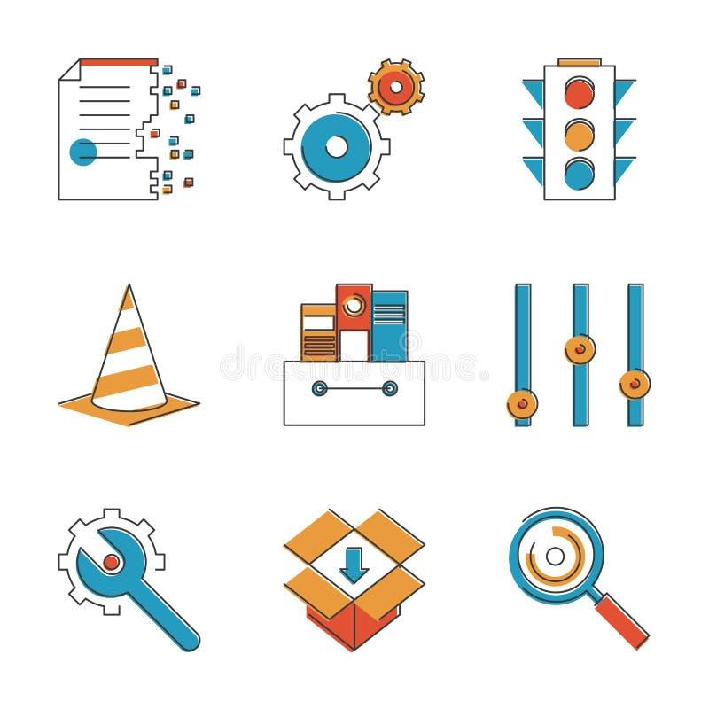 Podstawowych praca elementów kreskowe ikony ustawiać ilustracja wektor