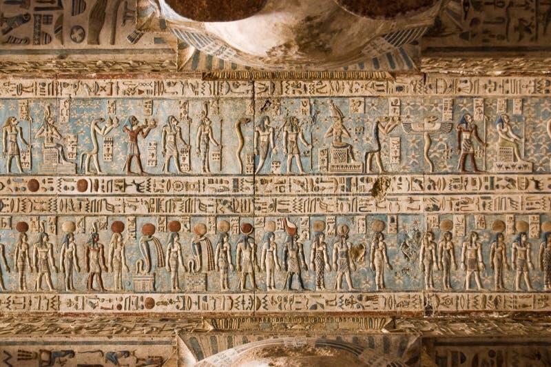 Podsufitowego Dendera Egypt Hieroglificzna świątynia Obrazy Royalty Free