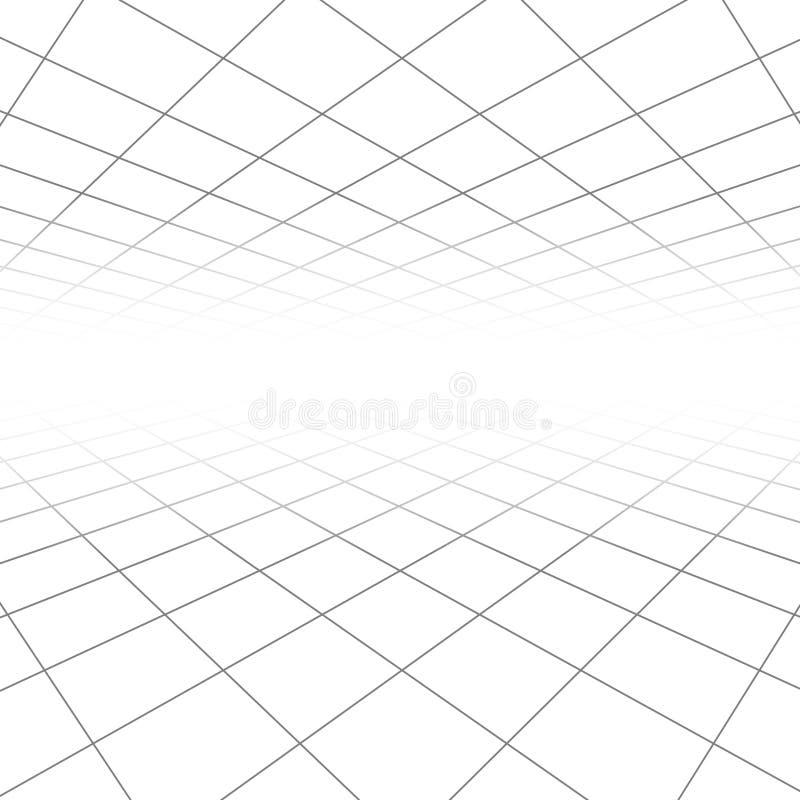 Podsufitowej i podłogowej płytki tekstura, 3d wykłada w perspektywicznego wzroku wektorowym abstrakcjonistycznym geometrycznym tl royalty ilustracja
