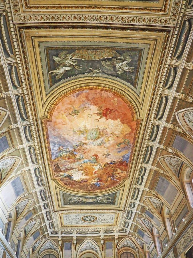 Podsufitowy fresk w Krajowym Archeologicznym muzeum Naples fotografia stock