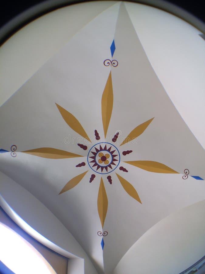 Podsufitowy gwiazdowy używa fisheye obiektywu biały żółty błękit obraz royalty free