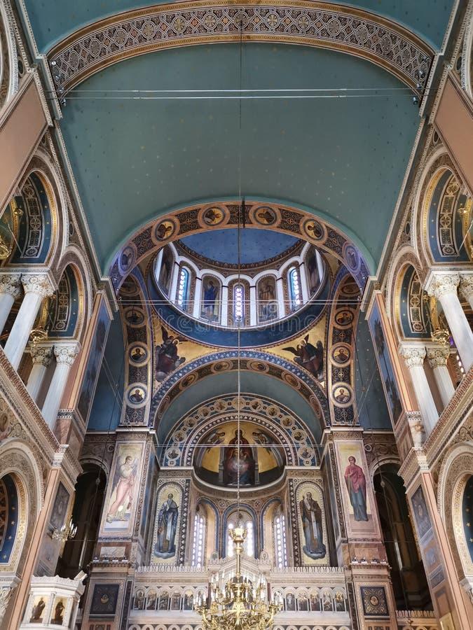 Podsufitowy wnętrze Wielkomiejski Krajowy kościół w Ateny zdjęcie royalty free