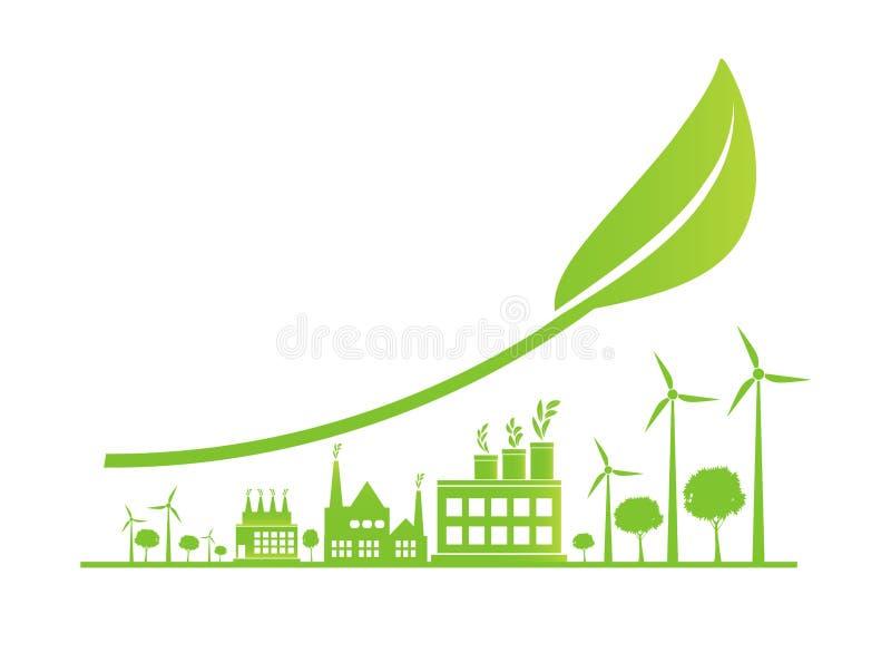 Podtrzymywalny Miastowy przyrost w mieście, ekologia Zieleni miasta pomagają światowi z życzliwymi pojęcie pomysłami, wektorowa i royalty ilustracja