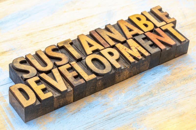 Podtrzymywalny rozwój - słowo abstrakt w drewnianym typ zdjęcia stock