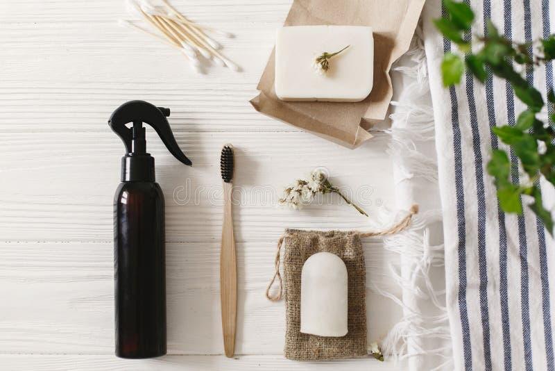 Podtrzymywalny styl życia Zero jałowy pojęcie naturalny eco bambus obrazy royalty free