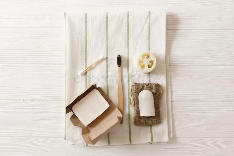 podtrzymywalny styl życia, zero jałowych pojęć naturalny eco bambus obrazy stock