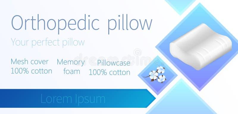 Poduszka z Bawełnianą Pillowcase konturu pamięci pianą ilustracja wektor