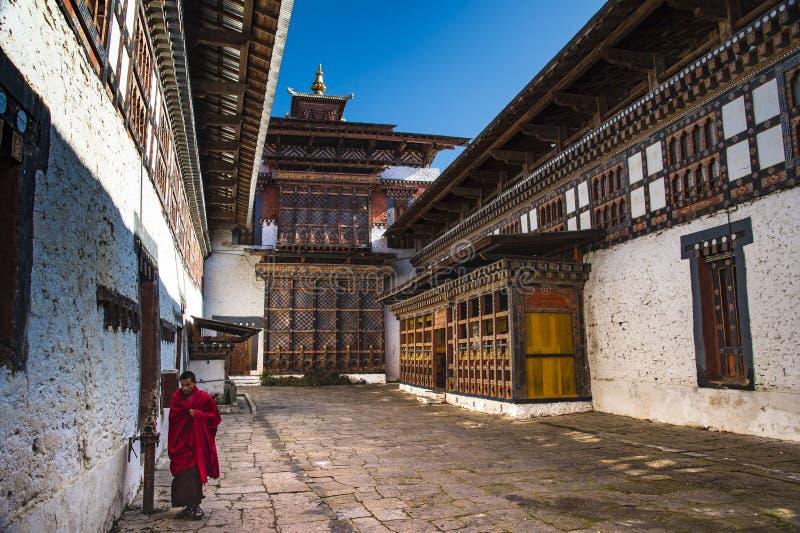 , podwórzowa i główna wśrodku Trongsa Dzong świątynia, Bhutan fotografia stock
