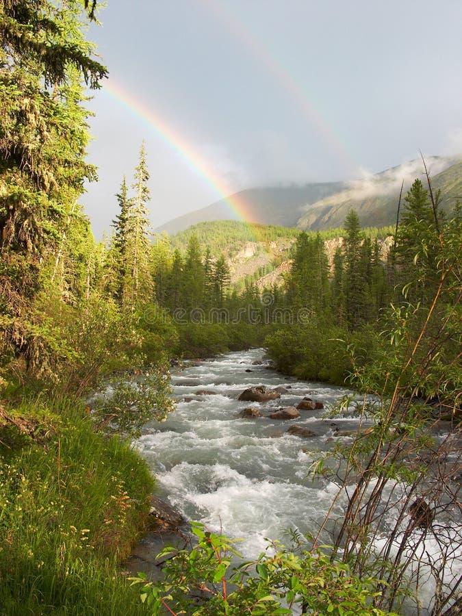 podwójna rainbow zdjęcia royalty free