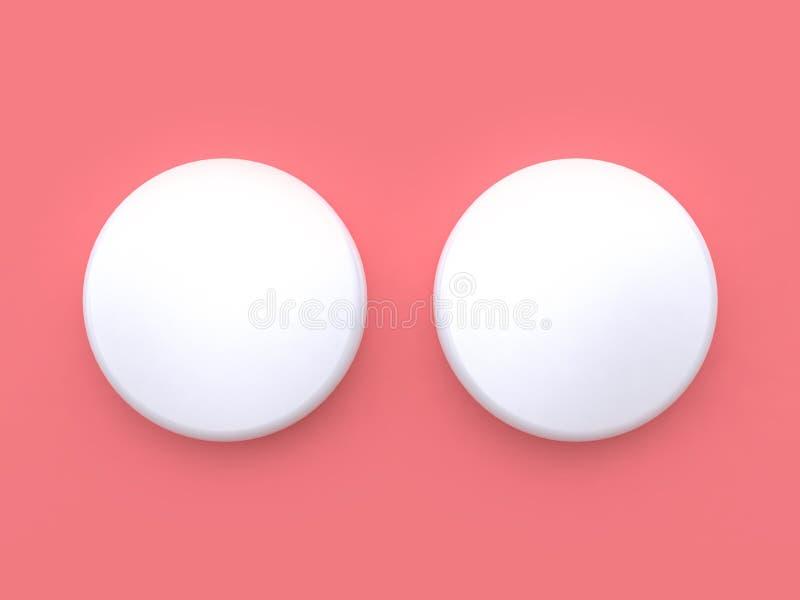 Podwójny biały okrąg 3d odpłaca się różowego tło minimalny abstrakcjonistyczny tło royalty ilustracja
