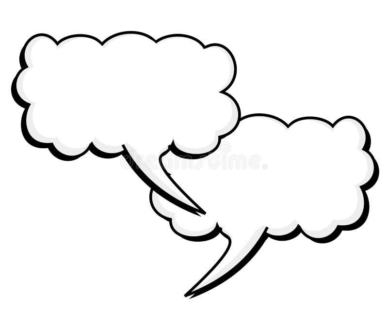 Podwójny słowo balon z Stałym Czarnym konturem ilustracja wektor