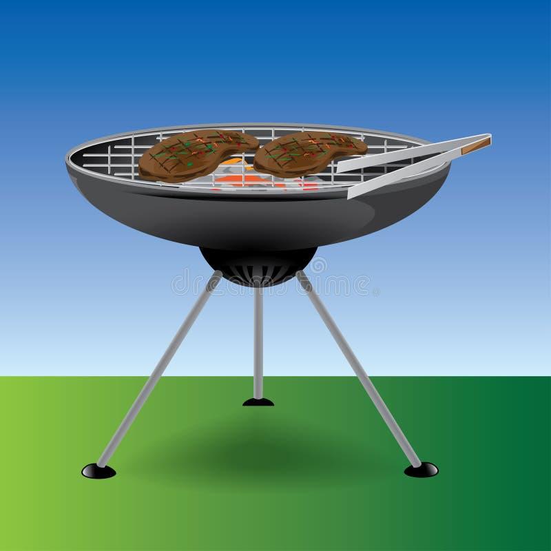 Podwórka grilla przedmiotów nakreślenie - ilustracja zdjęcia royalty free
