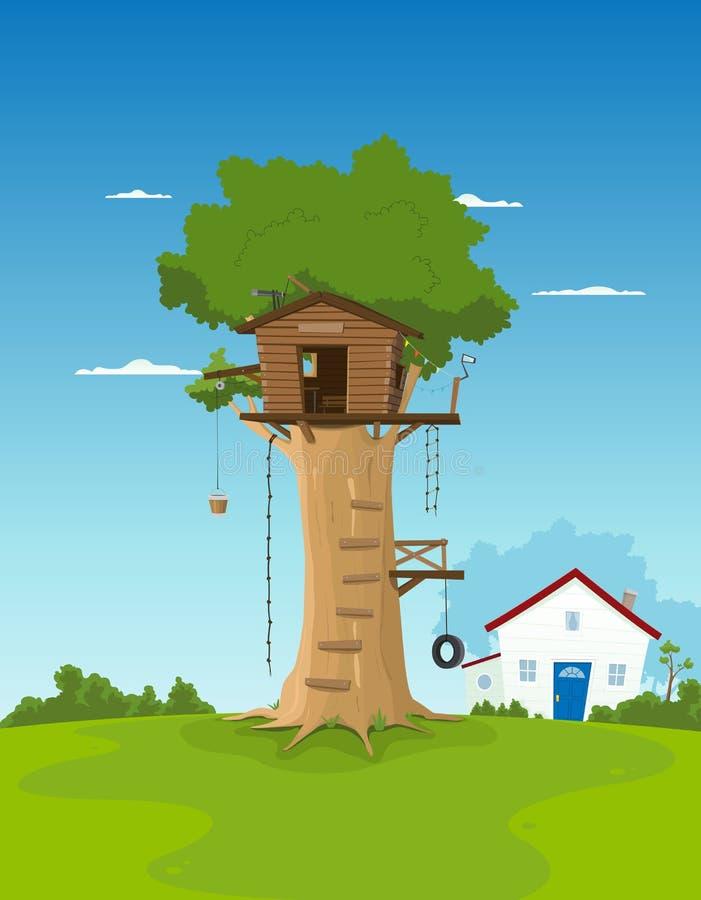 podwórza ogródu domu drzewo ilustracja wektor