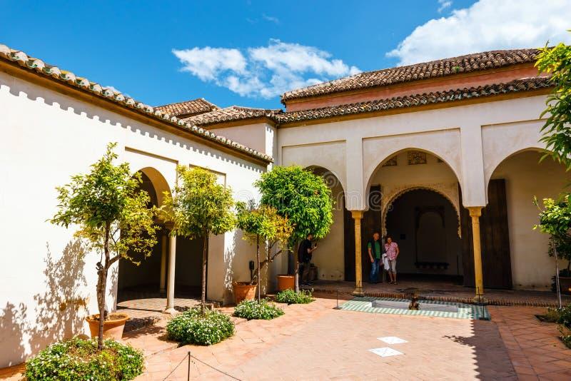 Podwórze alcazaba kasztel w Malaga, Costa Del Zol, Hiszpania zdjęcie stock