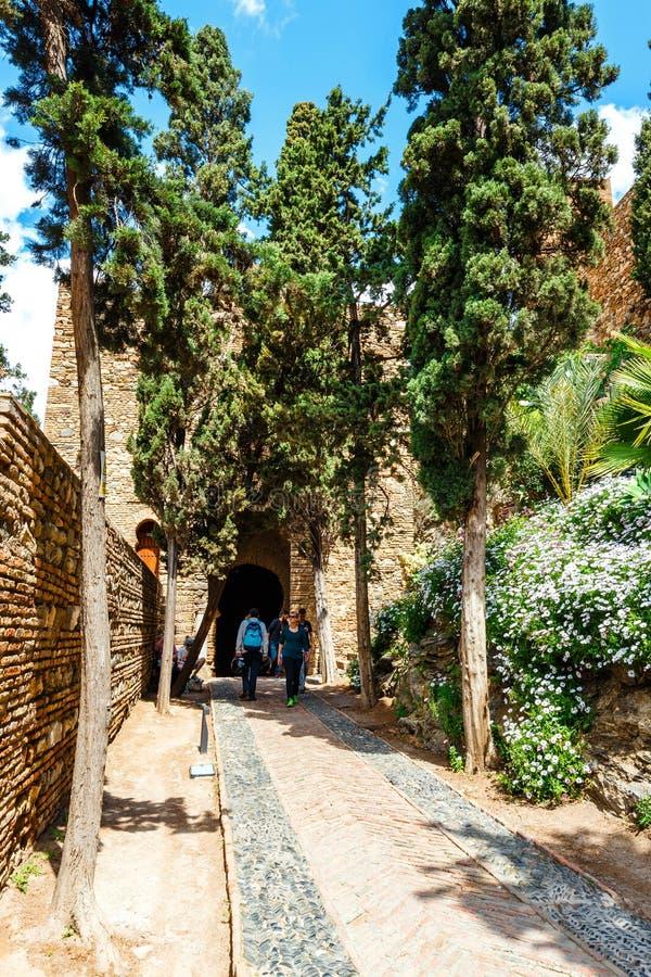 Podwórze alcazaba kasztel w Malaga, Costa Del Zol, Hiszpania fotografia stock