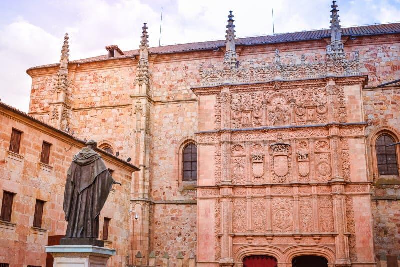 Podwórze antyczna fasada uniwersytet Salamanca zdjęcie stock