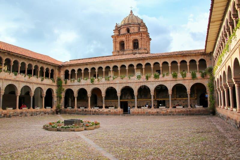 Podwórze klasztor Santo Domingo w Koricancha kompleksie, Cus fotografia stock