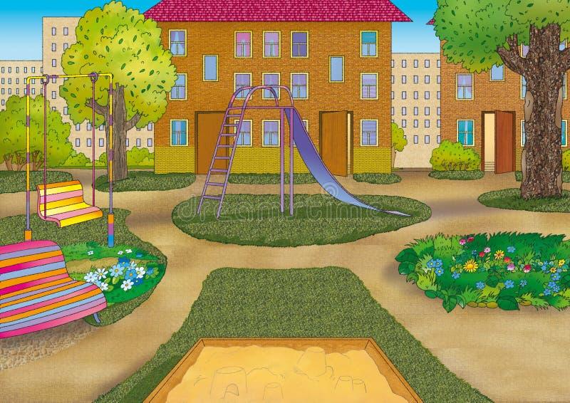 podwórze miastowy ilustracji